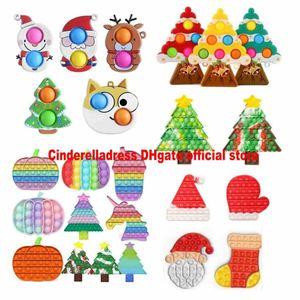 NOVO!!! Christmas Fidget Brinquedos Favores Favores Empurre-se Halloween Bubble Antistress Cartoon Brinquedo Simples Dimple Soft Sensory Presentes Reusável Squeeze