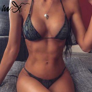 In-X Sexy Micro Bikini Set Snake Print Swimsuit Swimsuit Femmina String Bikini 2019 Push up Swimwear Donne Biquini Balena da bagno Costume da bagno Donna Nuovo