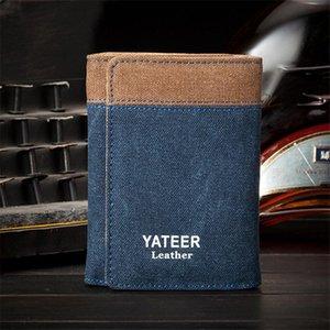Retro casual lienzo de lona corta plegable billetera de negocios Masculino Identificación de tarjetas PO Tarjetas Pequeñas bolsas bifold Bolsa de embrague Billetes de moda