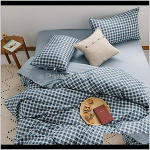 Supplies Textiles Home & Garden Drop Delivery 2021 Geometric Lattice Nordic Bedding Set Duvet Cover Sheets And Pillowcases Bed Linen 100Perce