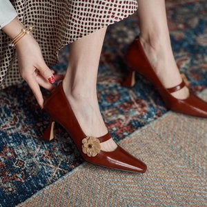 Dress Shoes Fashion Early Spring Mary Jane Single French Retro Thick Heel High Heels Women's