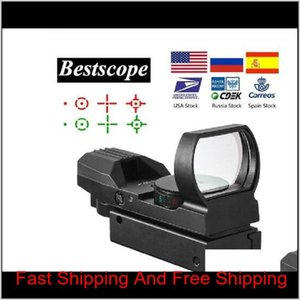 Scopes Accessories Gear 20Mm Rail Riflescope Hunting Optics Holographic Red Dot Reflex 4 Reticle Tactical Scope Collimator Sight Drop