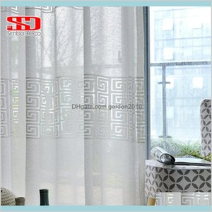 Curtain Window Treatments Home Textiles & Garden White Geometric Tulle For Living Room Modern Voile Sheer Bedroom Blinds Liner Kitchen