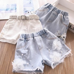 Shorts Children Jean Girls Summer Baby Clothes Denim Lace Bowknot Flower Tassels Pearl Kids Pants 2-7Y B4926