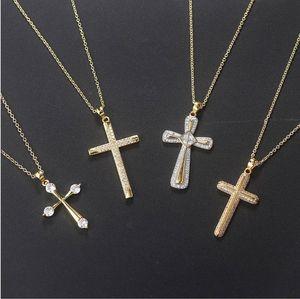 New fashion Zircon 14k Gold plated Full Diamond Cross Pendant Necklace