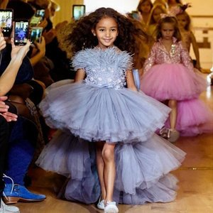 Blue Feather Lace Flower Girl Dresses For Wedding Party Ball Gowns Floor Length High Low Girls Pageant Dress First Communion