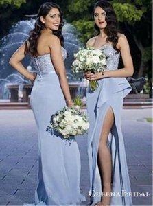 Dusty Blue Satin Brautjungfernkleider mit Spitze Rüschen Split 2020 trägerlos Plus Größe Meerjungfrau Junior Hochzeit Gast Party Kleid Kleid
