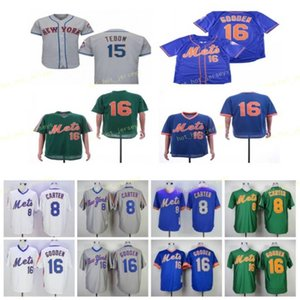 Пентируемый 8 Гэри Картер Бейсбол Джерси 15 Тим Тебоу 16 Дуайт Гуденден Винтаж Ретро Куперстаун Сшитый Пуловер