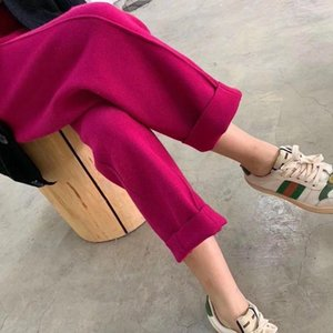 Autumn Winter Women Casual Solid Knitting Thick Warm Wide Leg Pants Female Loose Straight Ankle-Length Trousers Q145 Women's & Capris