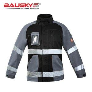 BAUSKYDD 100% хлопковая куртка с длинными рукавами Черная лоскутная работа Рабочая одежда Мужчины привет Вирс Светоотражающие грузы Униформа мужские куртки