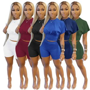 Women's Tracksuits Chiclover Summer Tracksuit Wholesale Items Women Clothes Casual Solid Two Piece Set Waist Top And Biker Shorts Sets Stree