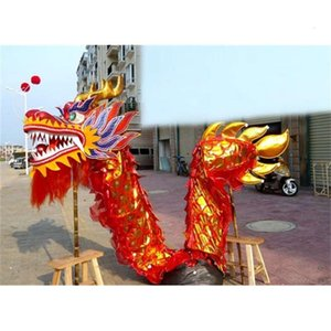 Art Size 5 # 7m golden red fabric students Chinese DRAGON DANCE mascot costume Christmas parade outdoor decor game stage holiday party