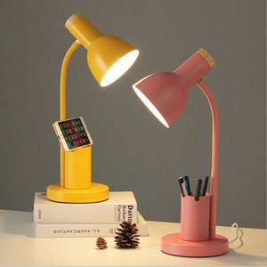 Eye protection dimming table light 3 colors console desk lamp 360° rotating reading lamps with pen holder AC100-240V Nordic style