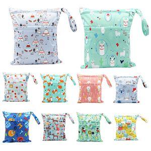 두 개의 지퍼가 달린 아기 기저귀 가방이있는 assappy 젖은 건조 가방 기저귀 가방 방수 재사용 가능한 세탁 가능 30 * 36cm 934 Y2