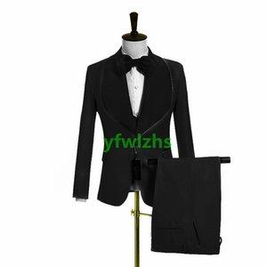 Custom-made One Button Groomsmen Shawl Lapel Groom Tuxedos Men Suits Wedding Prom Dinner Man Blazer(Jacket+Pants+Tie+Vest) W955