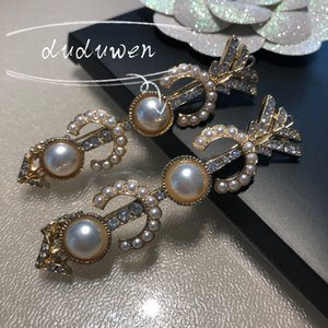 7X1.5cm C pandent Fashion metal hair clips Classic rhinestonwith pearls meta co arrows design hairpins selection accessories 2C card