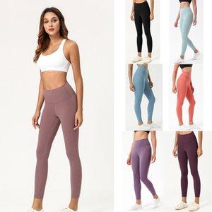 Mais Novos Lu Leggings Womens Yoga Terno Capri Calças Align Cintura Alta Esportes Aumentar Quadris Gym Wear Elastic Fitness Treinados Treino