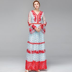 Designer Runway Women's Sexy V Neck Long Flare Sleeves Embroidery Tiered Ruffles Elegant Party Maxi Dresses PICE