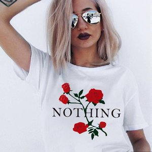T shirt Rose Nothing Letter Print T-shirt Women's Ins Net Red Same Round Neck Short Sleeve Fashion Designers