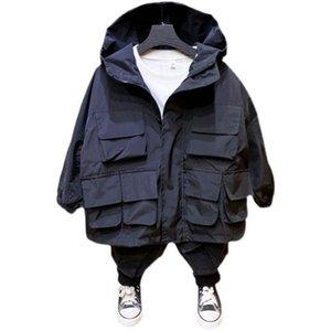 Teenage Boys Workwear Rainproof Jacket 2021 Spring Kid Korean Handsome Fashion Windproof Multi-pocket Children's Wear Jackets