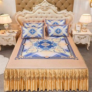 Bed Skirt High-quality Double Single Home ding Set With 2pcs Pillowcase Textile Large Size spread Flower J044 0RKR