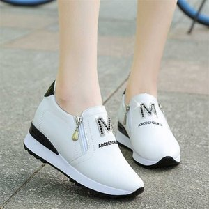 New lazy a pedal casual white platform women Sneakers Rhinestone Breathable Height Increasing shoes 201217