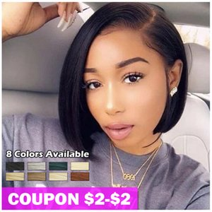 Wig Synthetic Short Bob 10 inch Synthetic Lace Wig Ombre Blonde 613 Red Heat Resistant Cosplay Wigs For Black Women