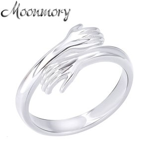 Moonmory Authentic 925 Sterling Sier 2021 Abrazo de otoño Cross Open Resizable Anillo Ajustable Ajustable Anillos de mano Para Mujer Joyería