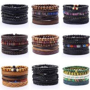 Fashion 5pcs set Boho Punk Wrap Charm Leather Bracelet Men Homme Bileklik Accesorios Pulseras Mujer Bracelets for women Jewelry WAJ0137