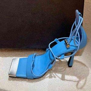 70% Rabatt auf den Großhandel Flip-Flops Sommer New Runway dünne High Heel Sandalen Square Tehe Knöchel Strappy Gladiator Frauen Sandalias Sexy Party Nachtclub Schuhe