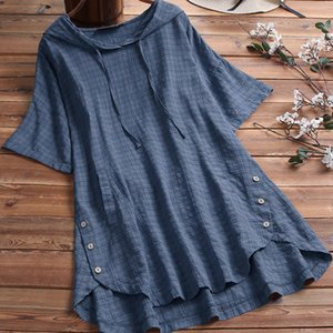 and cotton Top summer new 2021 hemp spring large women's loose fat mm short sleeve T-shirt for women