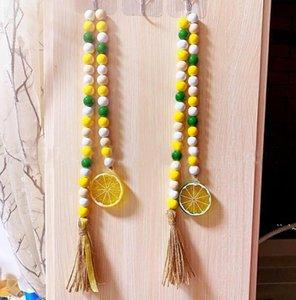 Perles en bois de citron Tassel suspendu Pendentif Farmhouse Décor Sous Câblée créative Câblée Corde Perles Enfants à la maison Décoratif OWC7113