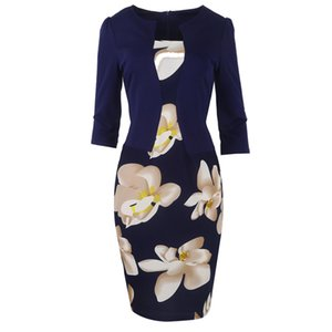 Mujeres Fall One Piece Patchwork Estampado Floral Elegante Partido de negocios Formal Office Plus Tamaño Bodycon Lápiz Trabajo Vestidos X0320