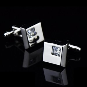 Cuff Link And Tie Clip Sets Crystal Cufflinks For Men In Square Shape Rhinestone Button Silver Plated Luxury French Wedding&Business