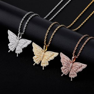Butterfly Pendant High Quality Iced Out Bling Micro Pave Cubic Zirconia Gold Color Zircon Women Fashion Jewelry Necklaces