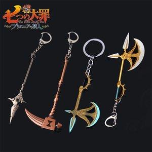 Wholesale Anime The Seven Deadly Sins Series Weapon KeyChain Nanatsu no Taizai Escanor Axe Hammer Keyring Men Car Accessories 210409