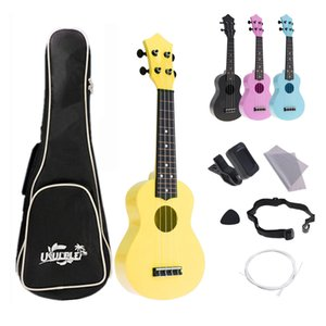4 Strings 21 Inch Soprano Ukulele Full Kits Acoustic Colorful Hawaii Guitar Accessories for Kids and Music Beginners