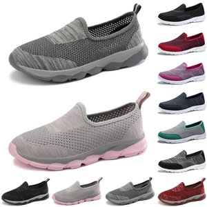 discount luxury women casual shoes Black red gray loafers flat slip on Breathable mens trainers sneakers size 35-42