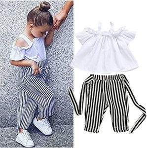 Childrens girl clothes set 2PCS Toddler Kids Baby Off Shoulder Tops Stripe Pants Outfits Sunsuit girls