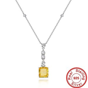 Nature 6ct Topaz Diamond Pendant 100% Real 925 Sterling Silver Party Wedding Pendants Necklace For Women men moissanite Jewelry