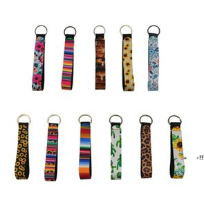 Neoprene Wrist Keychain Bag Charmer Metal Buckles In Front Colorful Cotton Band for Wedding Favors Gift FWB6368
