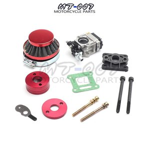 Carburetor 44mm Air Filter Alloy Stack Kit For 2 Stroke 47cc 49cc Engine Parts Goped EVO Gas Scooter Motorcycle Dirt Bike Mini Assembly