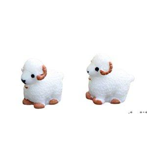 Mini Cute White Baby Sheep Lovers Plant Pot Doll Accessories Handicraft Moss Terrarium Micro Landscape Fairy Garden Desktop DIY EWD10367