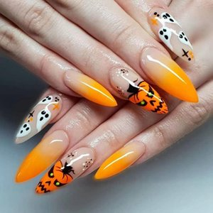 False Nails 24pcs Fake Nail Halloween Style Stiletto Mid-length Wearable Detachable Coffin Full Cover Art Tips Press On Manicure