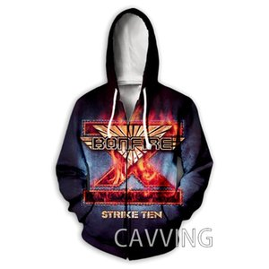 Men's Hoodies & Sweatshirts CAVVING 3D Print Bonfire Band Zipper Zip Up Hooded Sweatshirt Harajuku Hoodie For Men women