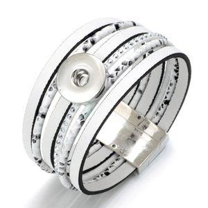 SZ0453b White Color Magnet buckle Leather Snaps Bracelet&Bangle DIY Snap Jewelry Fit 18mm Snap Button