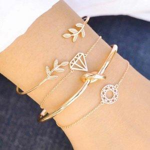 Простой лист, выдолбленный геометрические украшения для рук преувеличенная мода бриллиант комбинации четырех частей браслет