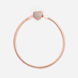 Moda de luxo 18k Rose Gold CZ Diamond Heart Bracelets Caixa Original para Pandora 925 Prata Liso Snake Chain Bracelet