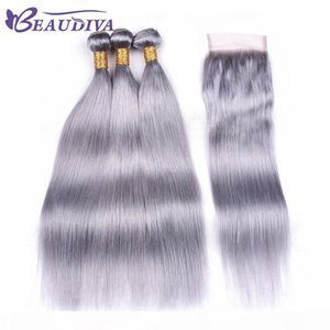 Beau Diva Silver Grey Bundles With Closure Remy Peruvian Straight Hair With Closure Human Hair Bundles With Lace Closure 4*4