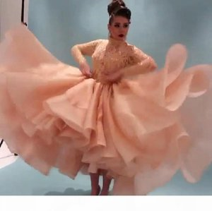2019 Myriam Fares Celebrity Dresses With Long Sleeves Prom Dresses Beaded Lace Party Dresses High Neck High Low Arabia Cocktail Evening Gown
